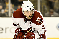 March 13, 2014 - Boston, Massachusetts , U.S. - Phoenix Coyotes defenseman Keith Yandle (3) in game action during the NHL game between the Phoenix Coyotes and the Boston Bruins held at TD Garden in Boston Massachusetts. The Bruins defeated the Coyotes 2-1 in regulation time. Eric Canha/CSM