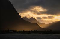 Autumn sunset over village of Flakstad, Flakstadøy, Lofoten Islands, Norway