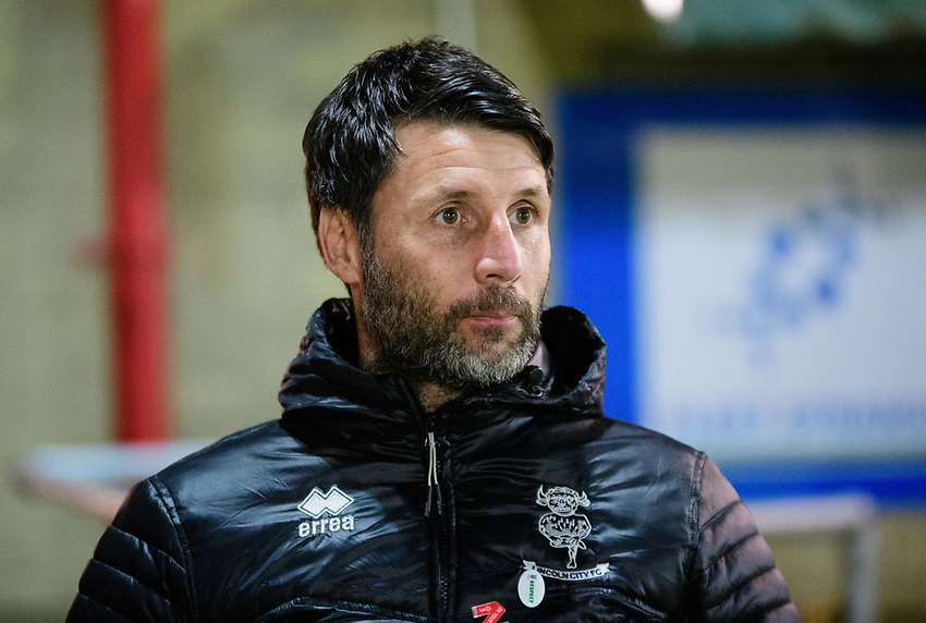 Lincoln City manager Danny Cowley during the pre-match warm-up<br /> <br /> Photographer Andrew Vaughan/CameraSport<br /> <br /> The EFL Checkatrade Trophy Second Round - Accrington Stanley v Lincoln City - Crown Ground - Accrington<br />  <br /> World Copyright © 2018 CameraSport. All rights reserved. 43 Linden Ave. Countesthorpe. Leicester. England. LE8 5PG - Tel: +44 (0) 116 277 4147 - admin@camerasport.com - www.camerasport.com