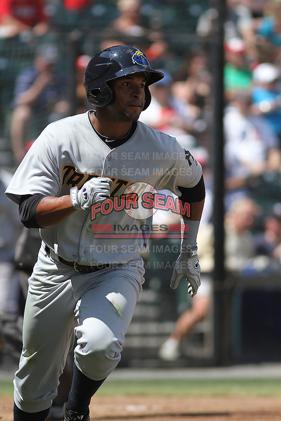 Trenton Thunder outfielder Zolio Almonte #49 at bat during a game against the Richmond Flying Squirrels at The Diamond on May 27, 2012 in Richmond, Virginia. Richmond defeated Trenton by the score of 5-2. (Robert Gurganus/Four Seam Images)