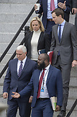 (L-R) US Secretary of Homeland Security Kirstjen Nielsen, White House Senior Adviser Jared Kushner Vice President Mike Pence and Ja'Ron Smith special assistant to the President of the United States exit the Eisenhower Executive Office Building on January 05, 2019 in Washington, DC. The U.S government is going into the third week of a partial shutdown with Republicans and Democrats at odds on agreeing with President Donald Trump's demands for more money to build a wall along the U.S.-Mexico border.<br /> Credit: Tasos Katopodis / Pool via CNP