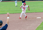 MIDDLETOWN, CT. 06 June 2018-060618BS570 - Wolcott's Nicholas Trager (22) heads for third after clearing the bases for a three run triple during the CIAC Tournament Class M Semi-Final baseball game between Ledyard and Wolcott at Palmer Field on Wednesday afternoon. Wolcott beat Ledyard 9-4 and advances to the Class M final this weekend. Bill Shettle Republican-American