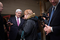 Former Speaker of the House Newt Gingrich speaks to members of the public after a town hall meeting in Lancaster, New Hamsphire.  Gingrich is seeking the 2012 Republican nomination for president.