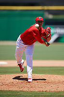 Clearwater Threshers relief pitcher Alexis Rivero (16) delivers a pitch during a game against the Fort Myers Miracle on April 25, 2018 at Spectrum Field in Clearwater, Florida.  Clearwater defeated Fort Myers 9-5. (Mike Janes/Four Seam Images)