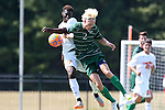 20 September 2015: Stetson's Jeppe Moe (NOR) (2) and Campbell's Reafe Anderson (CAN) (17) challenge for the ball. The Campbell University Camels hosted the Stetson University Hatters at Eakes Athletics Complex in Buies Creek, NC in a 2015 NCAA Division I Men's Soccer game. Campbell won the game 1-0.
