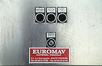 Control panel for the pneumatic press. Buttons: Soufflante inflating, Rotation Turning, Entree Air air inlet, Operation Manuelle manual operations. Euromav. Domaine du Grand Chemin, Vin de Pays d'Oc. in Savignargues. Languedoc. Wine press. France. Europe.