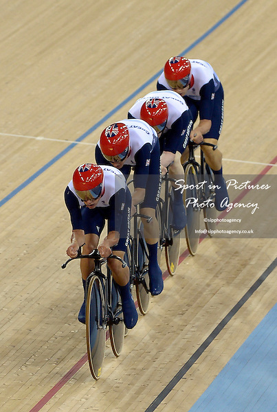 The Team GB (GBR, Great Britain) pursuit team of Edward Clancy, Geraint Thomas, Steven Burke and Peter Kennaugh on the way to their world record. Track Cycling - PHOTO: Mandatory by-line: Garry Bowden/SIP/Pinnacle - Photo Agency UK Tel: +44(0)1363 881025 - Mobile:0797 1270 681 - VAT Reg No: 768 6958 48 - 02/08/2012 - 2012 Olympics - Olympic Velodrome, London, England