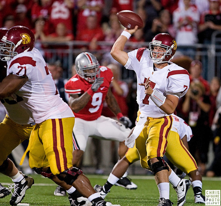 12 September 2009:  Football -- USC quarterback Matt Barkley throws a pass during their game against Ohio State at Ohio Stadium in Columbus.  USC won 18-15.  Photo by Christopher McGuire.