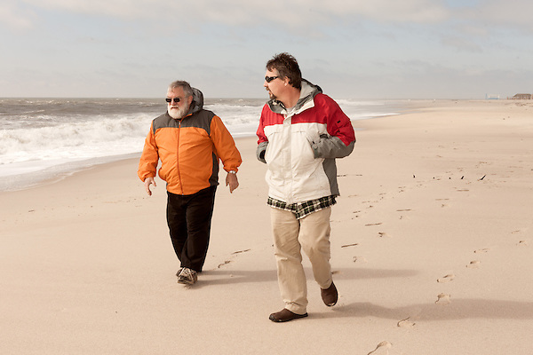 February 27, 2013. Cape May, New Jersey. (left to right) Orrin Pilkey and David Gessner.. Tracing the path of Hurricane Sandy, which wrecked havoc on the northeastern seaboard from October 25-31, 2012. The storm caused flooding and caused an estimated 60 billion dollars worth of damage to affected areas.