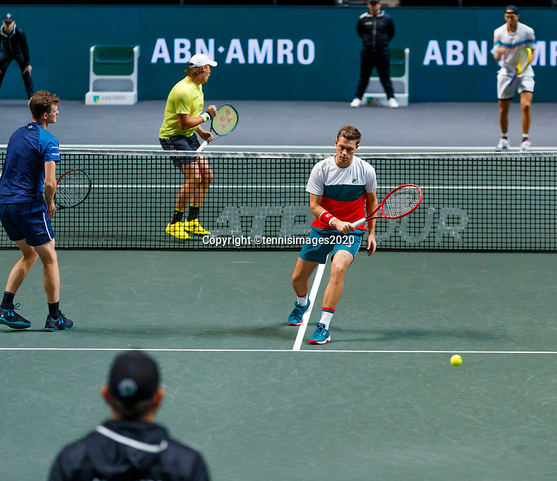 Rotterdam, The Netherlands, 14 Februari 2020, ABNAMRO World Tennis Tournament, Ahoy, Doubles: Henri Kontinen (FIN) and Jan-Lennard Struff (GER), Jamier Murray (GBR) and Neal Skypski (GBR). <br /> Photo: www.tennisimages.com