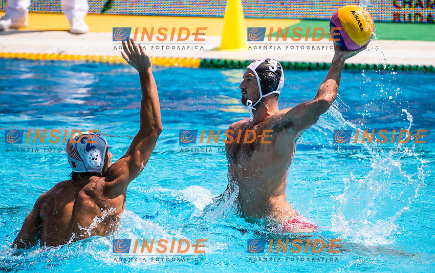 2 DI FULVIO FrancescoITA<br /> 3 TSREPULIA Damir GEO<br /> ITA(white) vs GEO(blue) Men<br /> LEN European Water Polo Championships 2014 - July 14-27<br /> Alfred Hajos -Tamas Szechy Swimming Complex<br /> Margitsziget - Margaret Island<br /> Day04 - July 17 <br /> Photo G. Scala/Inside/