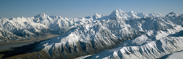 Aerial view of Mount Cook and the Southern Alps. New Zealand.