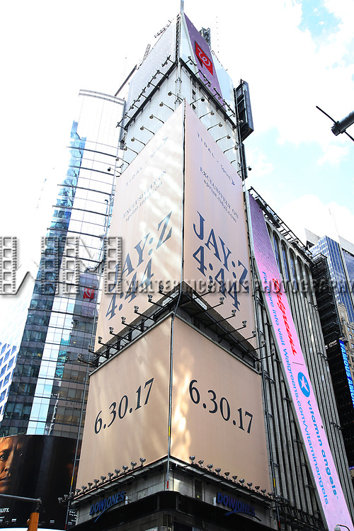 "Times Square billboard for JAY-Z's new album, ""4:44"" on June 30, 2017 in Times Square, New York City."