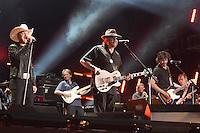 10 June 2016 - Nashville, Tennessee - Justin Moore, Hank Williams Jr., Chris Janson. 2016 CMA Music Festival Nightly Concert held at Nissan Stadium. Photo Credit: Laura Farr/AdMedia