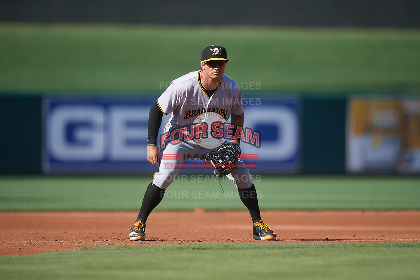 Bradenton Marauders third baseman Hunter Owen (13) during the first game of a doubleheader against the Lakeland Flying Tigers on April 11, 2018 at Publix Field at Joker Marchant Stadium in Lakeland, Florida.  Lakeland defeated Bradenton 5-4.  (Mike Janes/Four Seam Images)