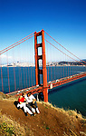 eCalifornia, San Francisco: Couple at Golden Gate Bridge, model released..  Photo #: casanf101..Photo copyright Lee Foster, 510/549-2202, lee@fostertravel.com, www.fostertravel.com