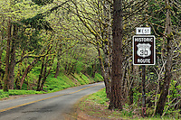 Historic Columbia River Highway 30 curves through forest, Oregon, USA