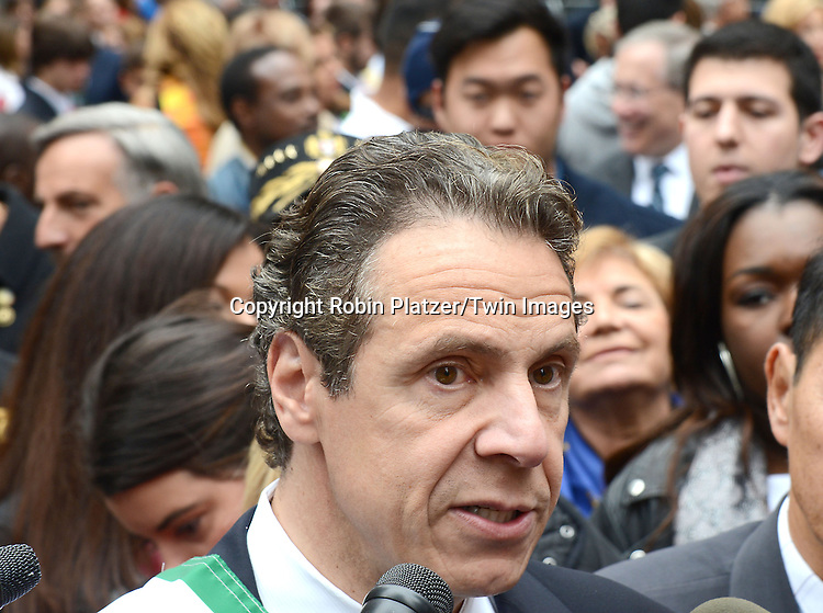 Governor Andrew Cuomo marchs in the 70th Annual Columbus Day Parade on October 13, 2014 on Fifth Avenue in New York City. <br /> <br /> photo by Robin Platzer/Twin Images<br />  <br /> phone number 212-935-0770