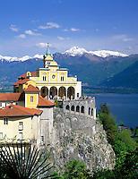 CHE, Schweiz, Tessin, Locarno am Lago Maggiore: Kirche Madonna del Sasso | CHE, Switzerland, Ticino, Locarno at Lago Maggiore: Church Madonna del Sasso