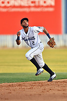 Asheville Tourists shortstop Carlos Herrera (2) attempts to make a play during a game against the West Virginia Power at McCormick Field on May 10, 2017 in Asheville, North Carolina. The Tourists defeated the Power 4-3. (Tony Farlow/Four Seam Images)