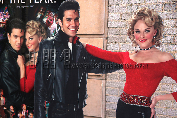 """Derek Keeling & Ashley Spencer poster Atmosphere at GREASE playing at the Brooks Atkinson Theatre during<br />""""Black Sunday on Broadway"""" with nine productions closing all on the same Sunday afternoon.<br />January 4, 2009"""