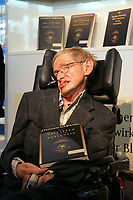 British physiscist and author Stephen Hawking pictured at the Frankfurt Book Fair in Frankfurt, Germany, 19 October 2005. Photo: Uwe Zucchi/DPA /MediaPunch ***FOR USA ONLY***