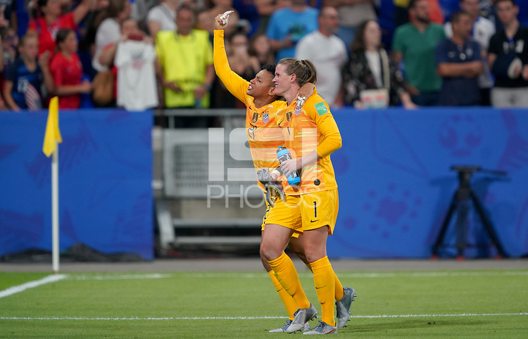 DECINES-CHARPIEU, FRANCE - JULY 02: Adrianna Franch #21 and Alyssa Naeher #1 celebrate during a 2019 FIFA Women's World Cup France Semi-Final match between England and the United States at Groupama Stadium on July 02, 2019 in Decines-Charpieu, France.
