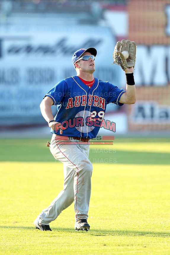 Auburn Doubledays outfielder Caleb Ramsey #29 during a game against the Batavia Muckdogs at Dwyer Stadium on July 17, 2011 in Batavia, New York.  Batavia defeated Auburn 8-3.  (Mike Janes/Four Seam Images)