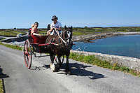 Ireland, County Galway, Aran Islands, Inishmore: Pony buggy taking tourists on tour of island | Irland, County Galway, Aran Islands, Inishmore: mit dem Einspaenner auf Inselrundfahrt