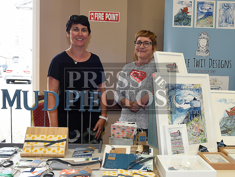 Deirdre O'Grady (Mudpie) and Caoimhe McCarthy (Little Twit Designs) at the monthly Cottage Market held in St. Peter's Parish Hall. Photo:Colin Bell/pressphotos.ie