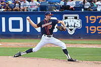 Colton Eastman (17) of the Cal State Fullerton Titans pitches against the Wichita State Shockers at Goodwin Field on March 13, 2016 in Fullerton, California. Cal State Fullerton defeated Wichita State, 7-1. (Larry Goren/Four Seam Images)