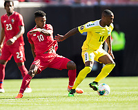 CLEVELAND, OH - JUNE 22: Edgar Barcenas #10 and Callum Harriott #11 battle for the ball during a game between Panama and Guyana at FirstEnergy Stadium on June 22, 2019 in Cleveland, Ohio.