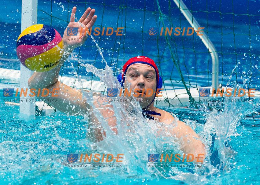 Eindhoven , Netherlands (NED) 19/1/2012.LEN European  Water Polo Championships 2012.Day 04 - Men.Greece (White) - Turkey (Blue)..GRE.1 KARAMPETSOS Filippos.2 MYLONAKIS Emmanouil.3 MIRALIS Andreas..4 KOKKINAKIS Konstantinos.5 DELAKAS Evangelos Ioannis.6 THEODOROPOULOS Argyris.7 AFROUDAKIS Christos..8 NTOSKAS Georgios.9 AFROUDAKIS Georgios.10 FOUNTOULIS Ioannis.11 MOURIKIS Konstantinos.12 VOULGARAKIS Matthaios.13 TSALKANIS Konstantinos..TUR.1 SEZER Atilla..2 BALTA Deniz Tolga.3 BIYIK Berk..4 OKMAN Oytun.5 GUNKUT Berk.6 COSKUN Emre.7 HANTAL Yigithan.8 AKYAR Arda Inan.9 GEDIK Yagiz Atakan.10 TUNCER Utku Eren.11 YILMAZ Alican.12 CAGATAY Alican.13 YENIGUN Emirhan.Foto Insidefoto / Giorgio Scala