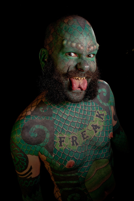 "Eric ""The Lizardman"" Sprague is a professional freak."