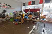Pictured: The premises of Cardiff Home Care Services that were damaged by the flood. Monday 17 February 2020<br /> Re: Cleanup after storm Dennis in Oxford Street, Nantgarw, Wales, UK.