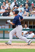 Justin Henry (7) of the Pawtucket Red Sox follows through on his swing against the Charlotte Knights at BB&T Ballpark on August 10, 2014 in Charlotte, North Carolina.  The Red Sox defeated the Knights  6-4.  (Brian Westerholt/Four Seam Images)