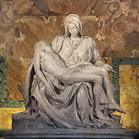 Michelangelo's Pieta, 14981499, Carrara marble masterpiece of Renaissance sculpture by Michelangelo Buonarroti, St. Peter's Basilica, Vatican City, Rome, Italy. Picture by Manuel Cohen