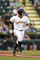 Bradenton Marauders outfielder Justin Maffei (26) runs to first during a game against the St. Lucie Mets on April 11, 2015 at McKechnie Field in Bradenton, Florida.  St. Lucie defeated Bradenton 3-2.  (Mike Janes/Four Seam Images)