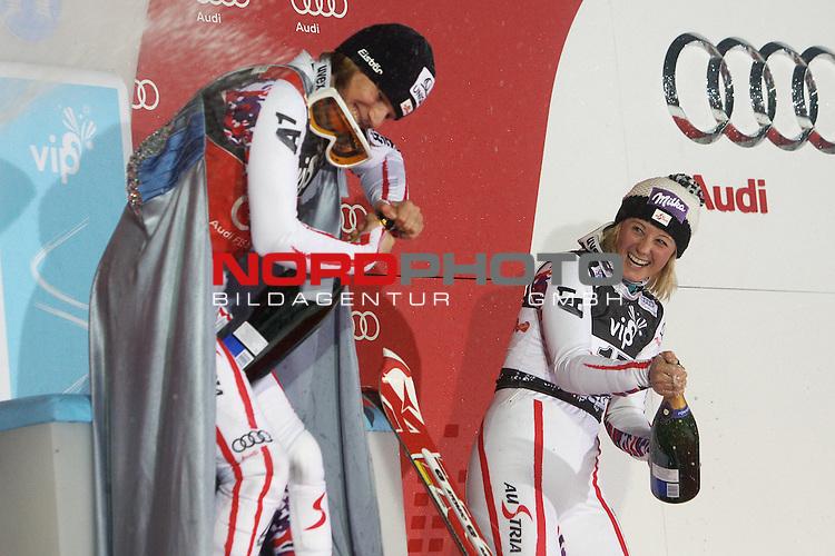 03.01.2012., Sljeme, Zagreb, Croatia - 2nd run of Audi FIS Ski World Cup Vip Snow Queen Trophy ladies' slalom race. <br /> Winner of Snow Queen Trophy Marlies Schild and third place Michaela Kirchgasser.<br /> Foto &copy; nph / Pixsell / Jakus