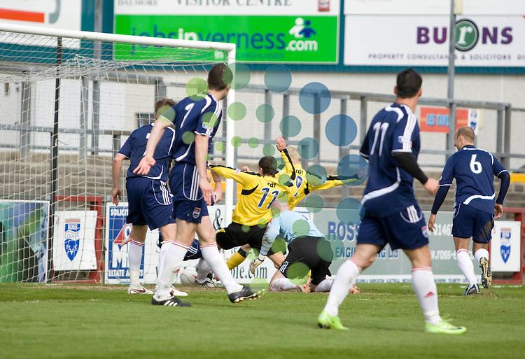 FOOTBALL.ROSS COUNTY v LIVINGSTON.Andrew Halliday Livi No11 scrambled home the second goal.