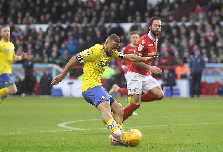 Leeds United's Kemar Roofe drives a shot on goal<br /> <br /> Photographer Mick Walker/CameraSport<br /> <br /> The EFL Sky Bet Championship - Nottingham Forest v Leeds United - Tuesday 1st January 2019 - The City Ground - Nottingham<br /> <br /> World Copyright © 2019 CameraSport. All rights reserved. 43 Linden Ave. Countesthorpe. Leicester. England. LE8 5PG - Tel: +44 (0) 116 277 4147 - admin@camerasport.com - www.camerasport.com