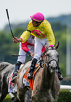 ELMONT, NY - JUNE 09: A Raving Beauty  #7, ridden by Irad Ortiz, Jr., wins the Longines Just a Game Stakes on Belmont Stakes Day at Belmont Park on June 9, 2018 in Elmont, New York. (Photo by Alex Evers Patterson/Eclipse Sportswire/Getty Images)