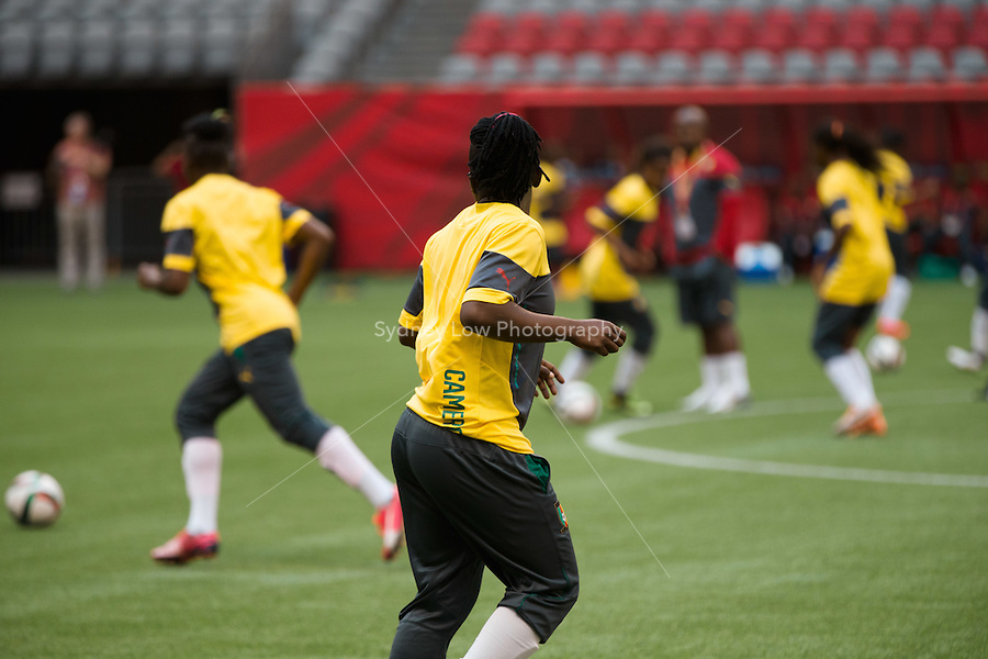 June 7, 2015: The Cameroon team at a prematch training session ahead of a Group C match at the FIFA Women's World Cup Canada 2015 between Cameroon and Ecuador at BC Place Stadium on 8 June 2015 in Vancouver, Canada. Sydney Low/AsteriskImages