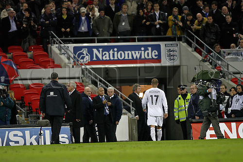21 November 2007: England substitute David Beckham walks off after his 99th appearance for England. England failed to qualify for the European Championships after losing the qualifier between England and Croatia played at Wembley. Croatia won the game 3-2. Photo: Glyn Kirk/Actionplus....071121 football soccer player loser lose
