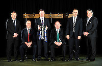London, England. Six nations head coaches Jacques Brunel of Italy, Stuart Lancaster of England, Rob Howley of Wales, Declan Kidney of Ireland, Philippe Saint Andre of France and Scott Johnson of Scotland pose with the Six Nations trophy during the RBS Six Nations launch at The Hurlingham Club on January 23, 2013 in London, England.