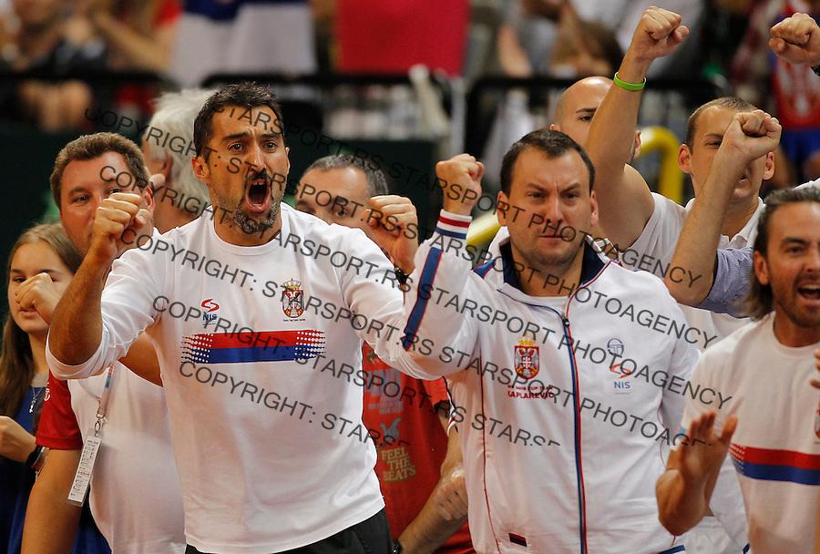 Tennis Tenis<br /> Davis Cup semifinal polufinale<br /> Serbia v Canada<br /> Janko Tipsarevic v Vasek Pospisil<br /> Nenad Zimonjic and Vladimir Kaplarevic react<br /> Beograd, 15.09.2013.<br /> foto: Srdjan Stevanovic/Starsportphoto &copy;
