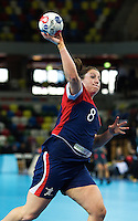 23 NOV 2011 - LONDON, GBR - Britain's Louise Jukes shoots during the 2011 London Handball Cup match against Angola at The Handball Arena in the Olympic Park in Stratford, London .(PHOTO (C) NIGEL FARROW)