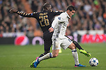 James Rodriguez of Real Madrid fights for the ball with Kalidou Koulibaly of SSC Napoli during the match Real Madrid vs Napoli, part of the 2016-17 UEFA Champions League Round of 16 at the Santiago Bernabeu Stadium on 15 February 2017 in Madrid, Spain. Photo by Diego Gonzalez Souto / Power Sport Images