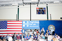 People gather in the crowd before former Secretary of State and Democratic presidential candidate Hillary Rodham Clinton speaks at a rally at Nashua Community College in Nashua, New Hampshire, on Tues. Feb. 2, 2016. Former president Bill Clinton also spoke at the event. The day before, Hillary Clinton won the Iowa caucus by a small margin over Bernie Sanders.