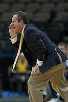 January 14, 2012:   East Tennessee State Buccaneers head coach Murry Bartow yells out to his players during Atlantic Sun conference action between the Jacksonville University Dolphins and East Tennessee State University Buccaneers at Veterans Memorial Arena in Jacksonville, Florida.   East Tennessee State defeated Jacksonville 72-58.